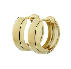 Paar-333-Gelbgold-Klappcreolen-Ohrringen-15-x-5-1mm-Hochglanzpoliert-Rund-4741
