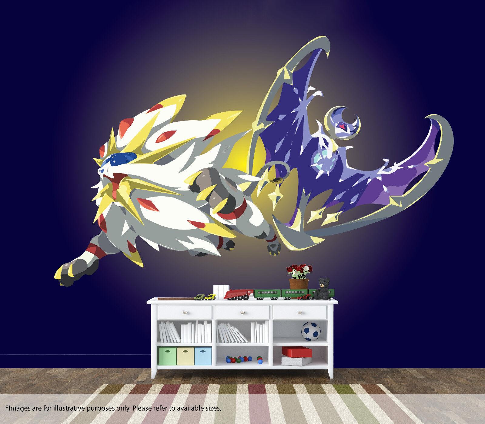Pokemon Sonne & Mond Wandbild Wandkunst Qualität Pastable Tapete Aufkleber