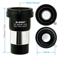1.25'' 2 X Barlow Lens Metal Coated Camera Interface For Telescope Eyepiece Us