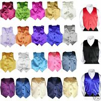 23 Color Satin Vest Only For Boy Teen Formal Party Graduation Tuxedo Suit 8-28