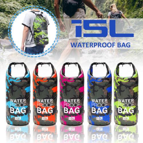 15L Camouflage Waterproof Dry Bag Sack For Floating Boating Kayaking Camping