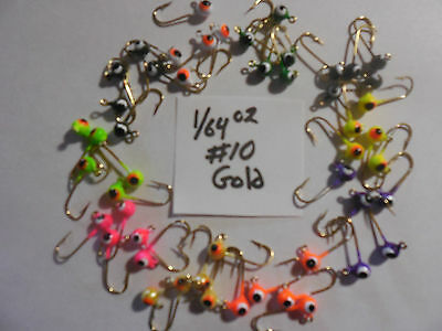 MICRO JIG HEADS 1/64OZ TROUT CRAPPIE PANFISH 50 ASSORTED #10 GOLD HOOK