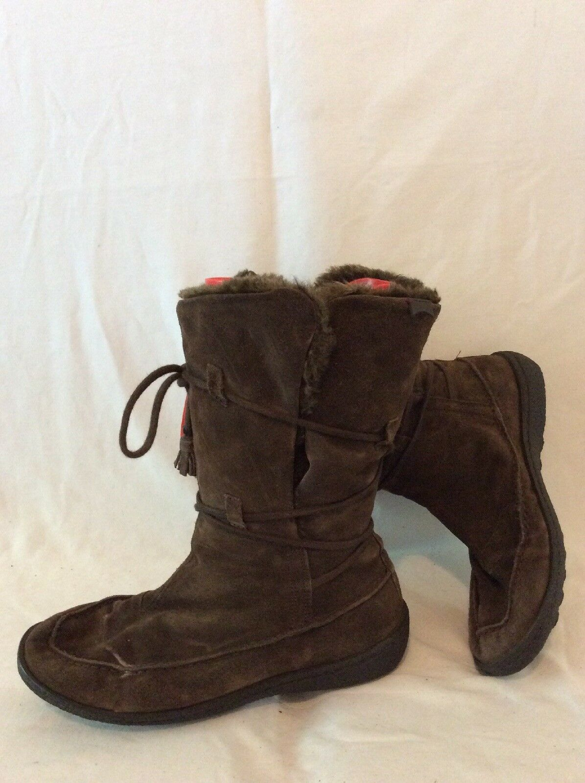 Camper marron Mid Calf Suede bottes Taille 38