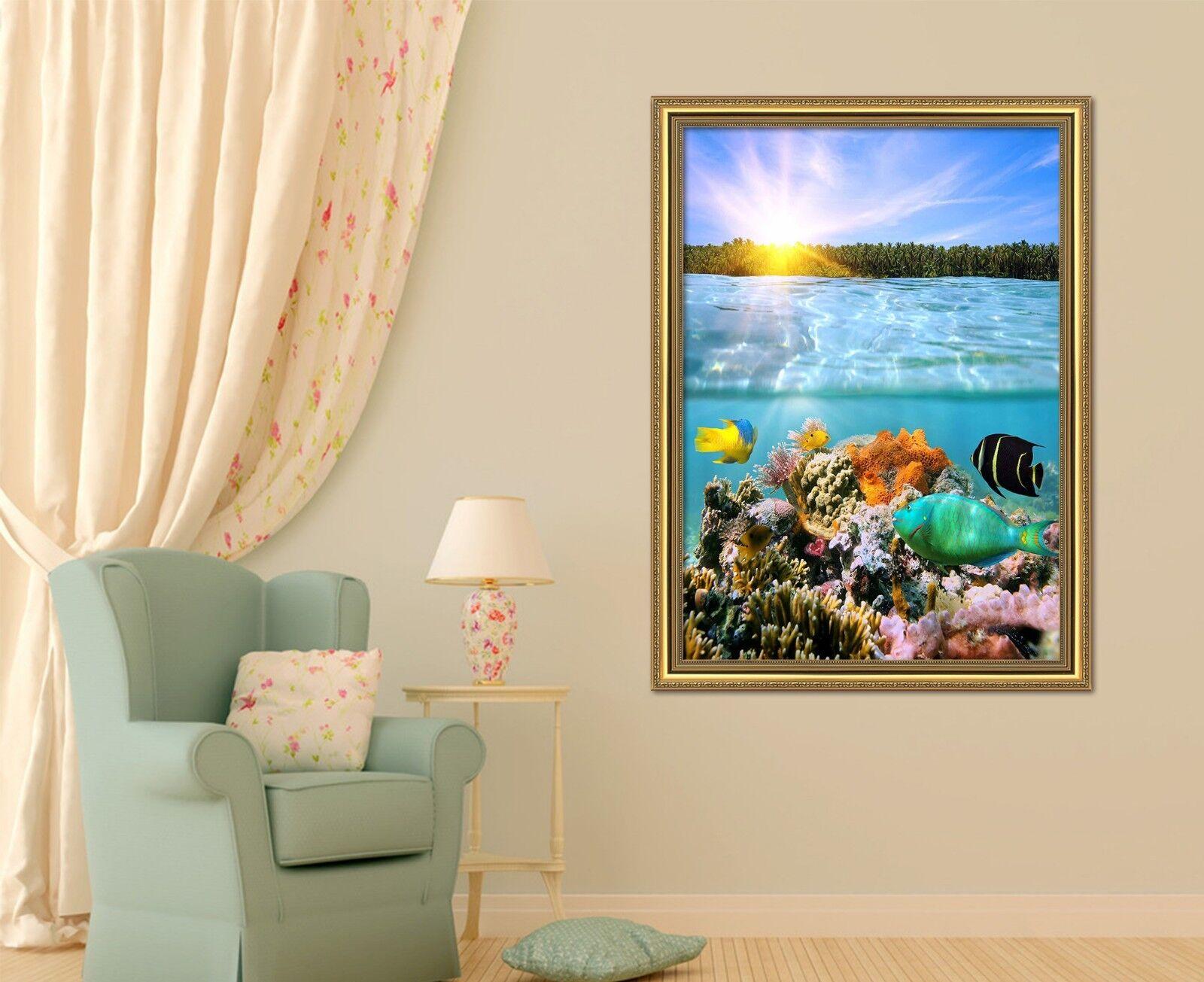 3D la luz del Sol Coral 47 Enmarcado Póster Decoración del Hogar Pintura de Impresión Arte AJ