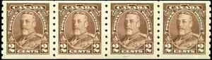 Canada-229-mint-F-VF-OG-NH-1935-King-George-V-2c-brown-Pictorial-Coil-Strip-of4