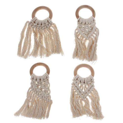 Handmade Natural Wooden Crochet Tassel Teether Bracelet Baby Shower Chewing Toys