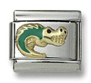 Italian-Charm-18k-Gold-Animal-Green-Enamel-Alligator-9mm-Modular-Link-Bracelet