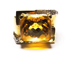 Beautiful 14k Yellow gold Signet Citrine Square Diamond Ring 16mm Size 5