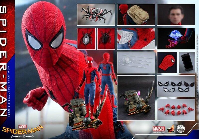 Marvel Hot Juguetes QS014 1 4 Spider-Man regreso a casa versión estándar de Figura de colección