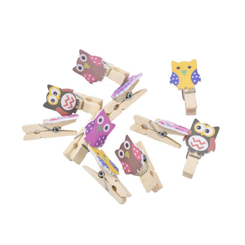 10 Mini Pegs Owl Wooden Craft Pegs Card Holder Photo Hanger Clothes Clip  J/&C