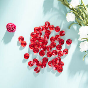 50-PCS-Red-Crystal-Octagon-Faceted-Glass-Prism-Beads-Chandelier-Part-14mm