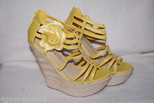 """Womens YELLOW STRAPPY 6"""" WEDGE HIGH HEELS Silver Stud & Flower ZIP ANKLE Size 9"""