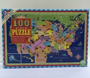 Eeboo 100 Piece United States Map Puzzle This Land Is Your Land New