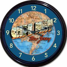 """Victorian Cape May NJ Large Letter Postcard Map Wall Clock Jersey Shore New 10"""""""