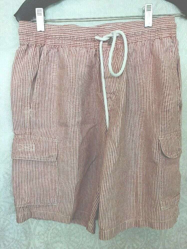 Vilebrequin Men's Shorts Red And White Linen Drawstring Cargo Size Medium