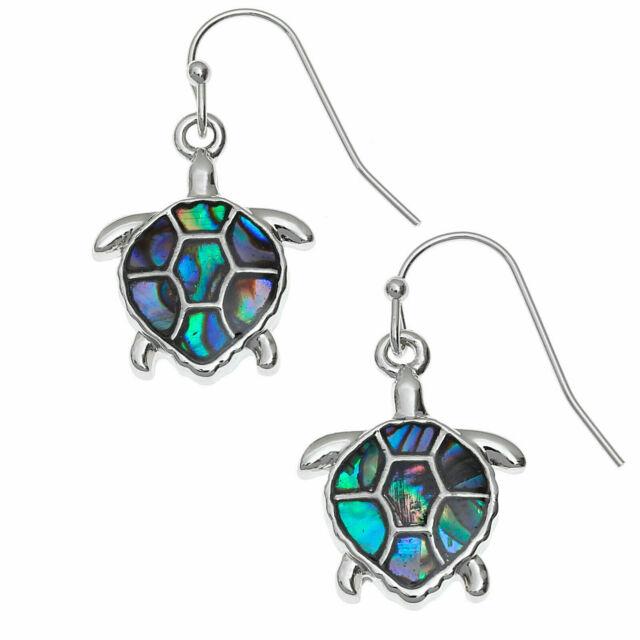 Ocean Unique Sea Turtle Stud Earrings Beach Sterling Silver Abalone  Paua Shell Gift Jewelry Handmade