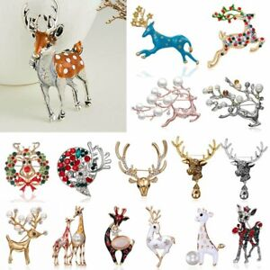 Charm-Christmas-Sika-Deer-Brooch-Pin-Crystal-Pearl-Costume-Jewellery-Xmas-Gifts