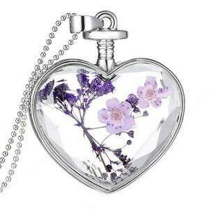 Luxury-Heart-Glass-Bottle-Dried-Flower-Pendant-Necklace-Chain-Necklace-MO