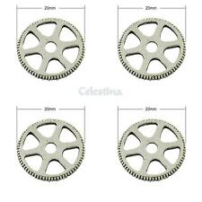 10 Antique Silver Cog Wheel Charms - Round Watch Parts Gears - LF 20mm
