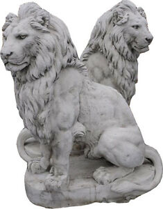 Genial Image Is Loading LAST PAIR LARGE STONE LIONS 55 034 LIFE