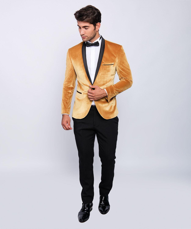 Slim Fit Herren Smoking Samt Optik in Gold mit Fliege -Hochzeit-Bühne-Sakko