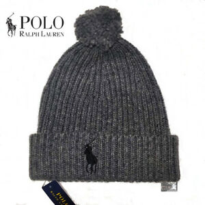498e65fce7888 Polo Ralph Lauren Men s Big Pony Pom Pom Skull Cap Beanie Hat Gray ...