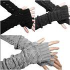 Winter Warmer Long Stretch Weave Knit Arm Warmer Fingerless Gloves Crochet