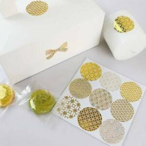 10 Sheets Shiny Gold Baking Packaging Sealing Sticker Biscuits Paper Sticker