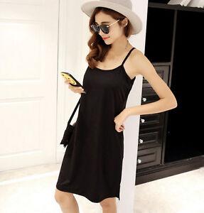 Women Cotton Linen Strappy Full Slip Long Loose Dress Chemise Petticoat S-3XL