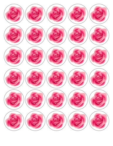30 x4cm pink rose comestible gaufre//fondant paper cup cake toppers