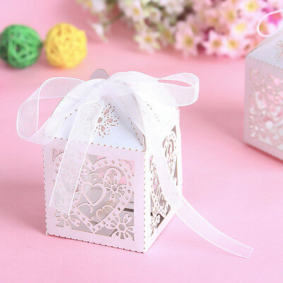 50 PCS Love Heart Laser Cut Candy Gift Boxes With Ribbon Wedding priority mail