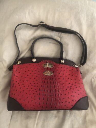vintage handbag faux leather red/brown crock embos