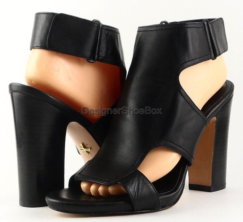 Pour la Victoire Eco Cuero Cuero Cuero Negro Diseñador Sandalias Peep-Toe Tacones 7.5  Precio por piso