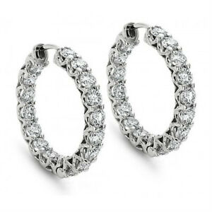2-00-ct-Round-Cut-Diamond-Hoop-Huggie-Earrings