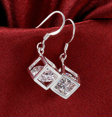 Women Silver Plate Silver Plated Ear Hook Dangle Crystal Rhinestone Earrings New