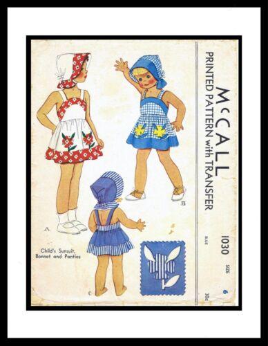 McCall 1030 Pattern Sunsuit Playsuit DRESS Bonnet Panty TODDLER Hat 2 or 4 or 6