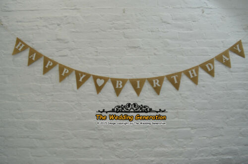 Personalized Happy Birthday Hessian Bunting Party Burlap Anniversary Banner
