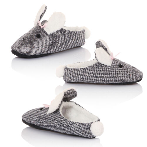 Loungeable Ladies Borg New Faux Fur Lined Slip On Rabbit Womens Mule Slippers
