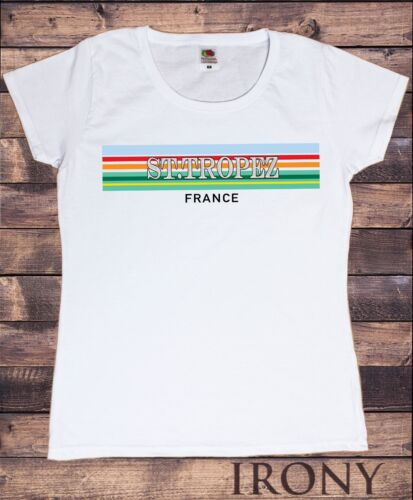 Women's White T-Shirt St Tropez France Colour Block Print TS1401
