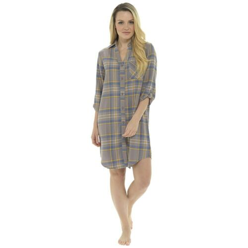 UK Sizes 8-22 Ladies Brushed Cotton Check Long Sleeve Classic Nightshirt