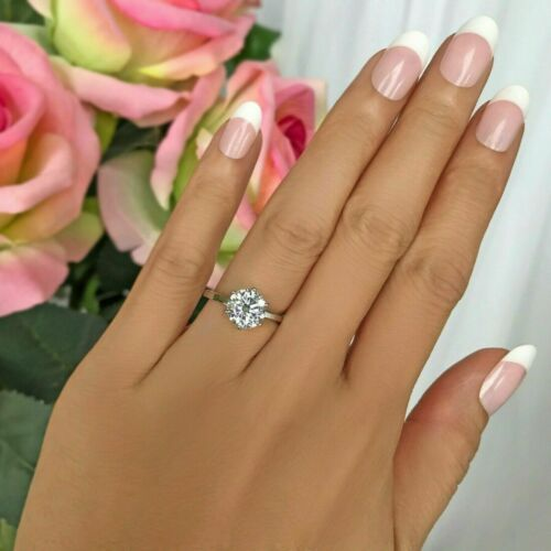 Certified 2.00Ct Round Moissanite Solitaire Engagement Ring Solid 14k White Gold