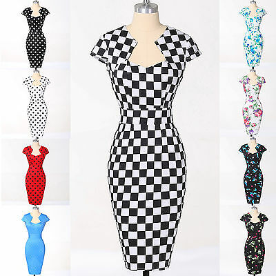 SUMMER 50s Vintage Style ROCKABILLY Retro Pinup Swing Housewife Prom Party Dress