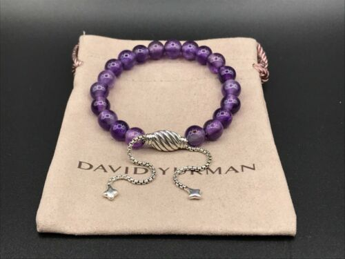 DAVID YURMAN Spiritual Bead Bracelet Sterling Silver with Amethyst 8mm NWOT
