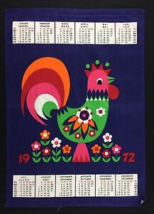 Vtg Decorative Bar Kitchen Tea Calendar Towel 1972 Colorful Rooster on Dark Blue