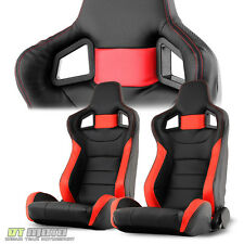 FULL CARBON PU Black/Red Leather SCS Reclinable Racing Seat w/Slider LEFT+RIGHT