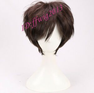 Gravity Falls Dipper Pines Short Dark Brown cosplay wig +a wig cap