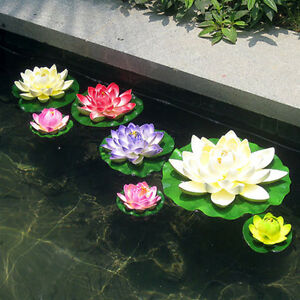 Artificial lotus floating water lily flowers plants home for Artificial plants for outdoor ponds