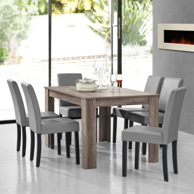 Ensa Esstisch Antik Eiche Mit 6 Stühlen HELLGRAU 140x90