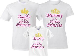 ee29c673 Family Unicorn Mom & Dad Birthday Girl Princess Customized T-Shirts ...