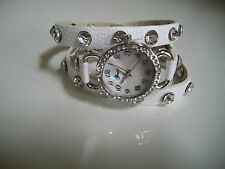 White/Silver Wrap Around Watch with Bling Sparkly Rhinestones Crystals